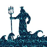 Poseidon god pattern silhouette ancient mythology fantasy. Vector illustration royalty free illustration