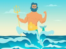 Poseidon Greek god of the sea. Poseidon with trident, neptune in sea, vector illustration Stock Photography