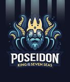 Poseidon grekisk gud av havet sju Royaltyfria Foton