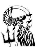 Poseidon neptune med treudd- och hjälmvektorillustrationen Royaltyfri Fotografi