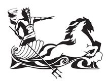 Poseidon neptune with trident on chariot vector illustration. Crowned neptune or poseidon with trident sea god vector illustration. Mythical fantasy water Royalty Free Stock Photo