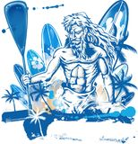 Poseidon puddle surfer. On surfboard hand draw Royalty Free Stock Photos
