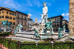 Poseidon Statue in Florence. The fountain of Neptune by Bartolomeo Ammannati in  Florence, Italy Stock Photos