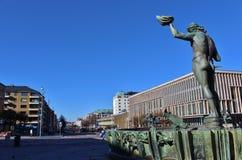 Poseidon statue at Götaplatsen in Gothenburg. In 1931 inaugurated Carl Milles' statue of Poseidon at Götaplatsen. In the background, Kungsportsavenyen and the Royalty Free Stock Photo
