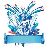 Poseidon-Surfer mit Fahne Stockfotografie