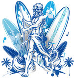 Poseidon surfer on surfboard background Stock Image