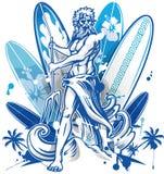 Poseidon surfer on surfboard background Stock Image