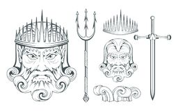 Poseidon - suverän havsgud för gammalgrekiska grekisk mythology Neptuntreudd Olympisk gudsamling Hand dragit manhuvud Royaltyfri Bild