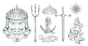 Poseidon - suverän havsgud för gammalgrekiska grekisk mythology Neptuntreudd Olympisk gudsamling Hand dragit manhuvud _ Royaltyfri Fotografi