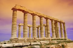 Poseidon Temple. Side View of Poseidon temple, Greece. Filtered sky stock images