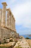Poseidon temple, Greece. Side View of Poseidon temple, Greece. Coastal background royalty free stock photography