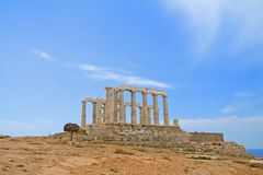 Poseidon Temple, Greece. View of the Poseidon temple, with Greek skyscape stock photography