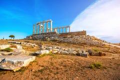 Poseidon temple in Greece Stock Photos