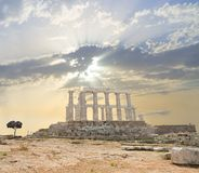 Poseidon Temple - side. Poseidon is the Greek name for the god of sea, Neptune. This temple is on the south tip of Attica, the peninsula of Athens stock photo