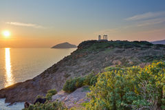 Poseidon temple, Sounio, Greece. A HDR photo created from 3 exposures of Poseidon temple, Sounio, Greece, just before sunset stock photography