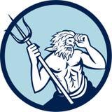 Poseidon Trident Circle Retro Royalty Free Stock Image