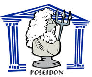Poseidon,triton, Greek God Cartoon. Poseidon,triton, neptun, antique greek god Stock Photography
