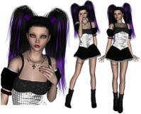 Poser roxo do adolescente de Goth do cabelo Fotografia de Stock Royalty Free