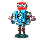 Posera den Retro roboten Innehåller den snabba banan vektor illustrationer