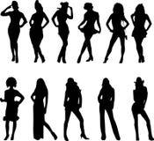 posera den sexiga kvinnan vektor illustrationer
