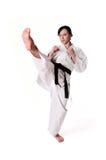Posera för Karatekvinna arkivbild