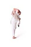Posera för Karatekvinna Arkivfoto