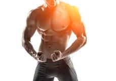 Posera för kroppsbyggareman som visar perfekt abs, houlders, biceps, triceps, bröstkorg Royaltyfri Fotografi
