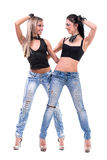 Posera för två sexigt flickor som isoleras över vit Arkivfoton