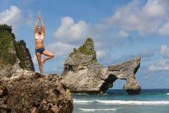 Posera från yoga Fotografering för Bildbyråer