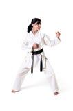 posera kvinna för karate Arkivfoton
