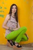 posera squatting för härlig modell Royaltyfria Foton