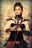 Posera steampunk arkivbild