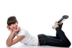 posera studiobarn för vuxen härlig flicka royaltyfri foto