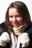 posera vinter för klädermodell Royaltyfri Foto