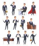 Poserar affärstecken Åtgärdar manliga chefer för professionell som arbetar sittande folk för innehavaffärsobjekt, för att posera  stock illustrationer