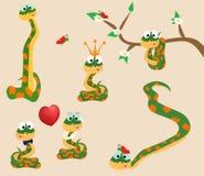 4 poserar av gulliga trevliga ormar cartoon också vektor för coreldrawillustration stock illustrationer