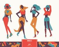 Poserar den idérika illustrationen för vektorn med älskvärda flickor i elegant modestil i olikt Fulla kroppar som kläs med skördö stock illustrationer