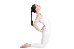 Poserar den kvinnliga görande kamlet för yogi Fotografering för Bildbyråer