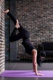 Poserar den kvinnliga yogin för början som öva yogainversion, anseende på uppochnervänd benägenhet för händer mot väggen i kondit royaltyfri bild