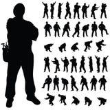 Poserar den svarta konturn för arbetaren i olikt stock illustrationer