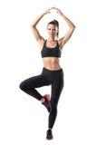 Poserar den unga kvinnan för den härliga passformen som balanserar i enkelt benträd för yoga Royaltyfria Bilder