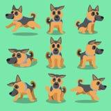 Poses alemãs do cão-pastor do personagem de banda desenhada Fotografia de Stock