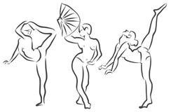 Poses d'acteurs de dessin de danse de fille illustration de vecteur