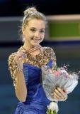 Poses d'Elena RADIONOVA avec la médaille d'argent Photos stock