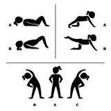 Poses d'exercice pour l'illustration saine de pictogrammes Photos stock