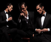 3 poses d'homme d'affaires assis dans le noir regardant loin Photographie stock libre de droits