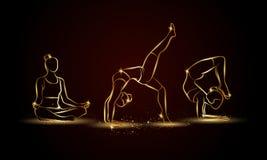 Poses da ioga ajustadas Ilustração linear dourada da ioga para a bandeira, o fundo e o inseto do esporte Fotografia de Stock