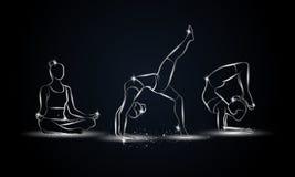 Poses da ioga ajustadas Ilustração linear metálica da ioga para a bandeira, o fundo e o inseto do esporte Imagens de Stock