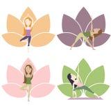 Poses da ioga com lótus Imagens de Stock