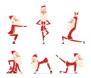 Poses da ioga de Santa O caráter saudável do esporte do feriado de inverno do Natal que está em vário relaxa a mascote bonito do  ilustração do vetor
